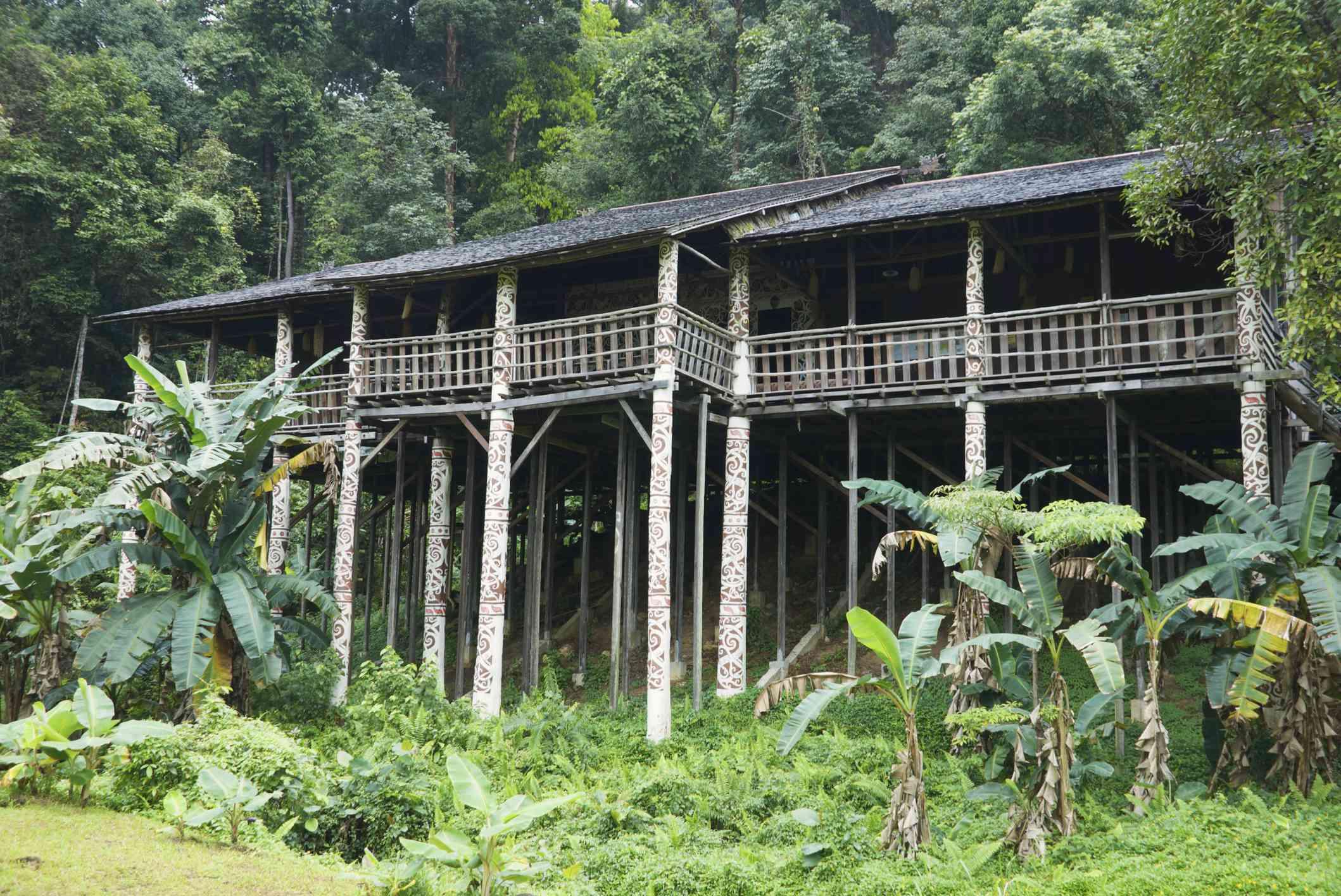 Replica longhouse at Sarawak Cultural Village