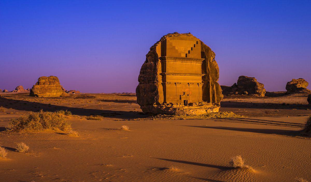 A stone citadel in the Saudi Arabian desert
