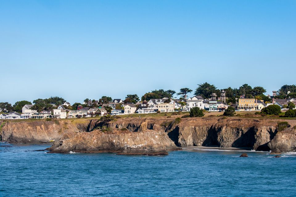 Town of Mendocino across the water in the early morning sunlight
