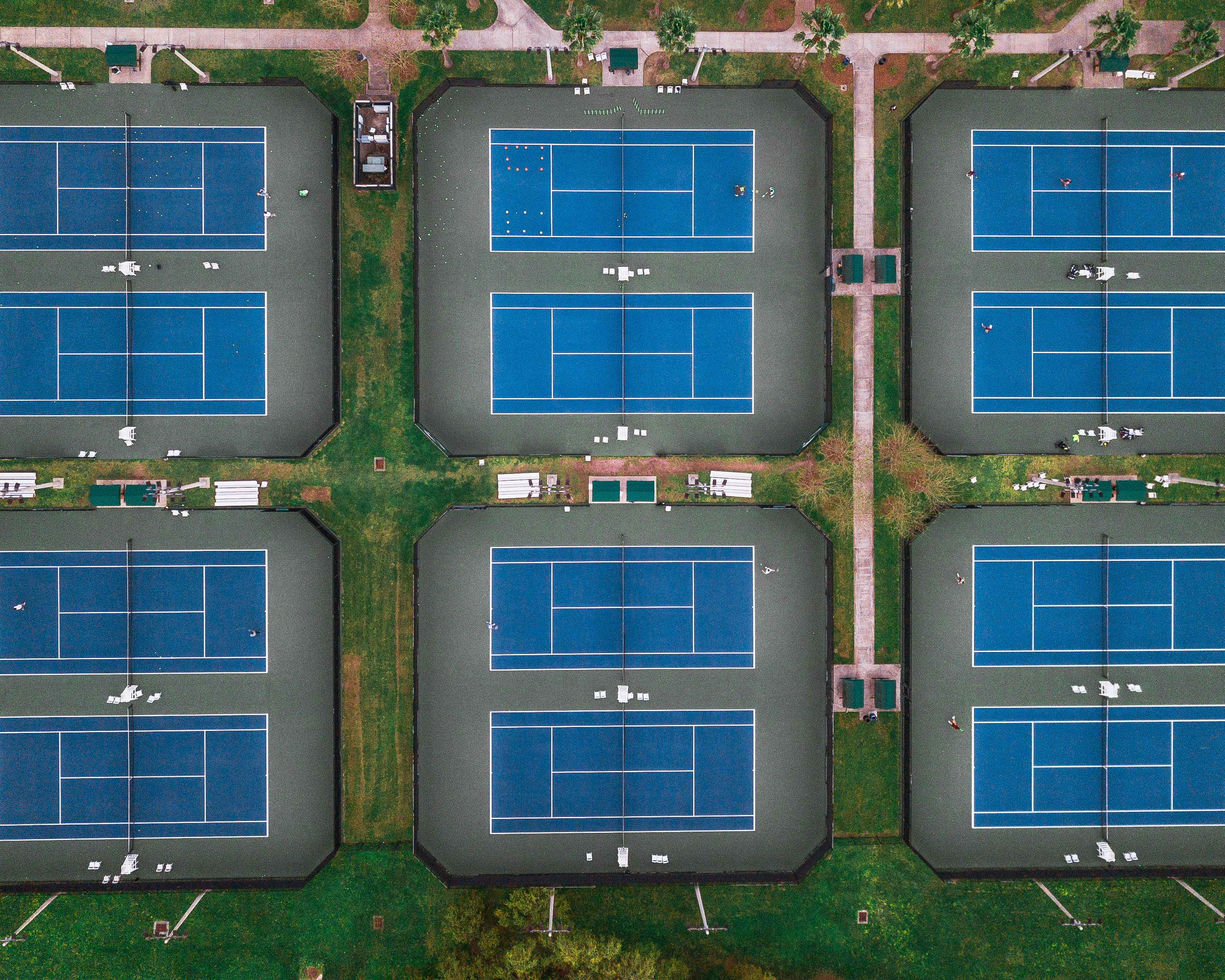 Aerial view looking down on tennis courts in City Park