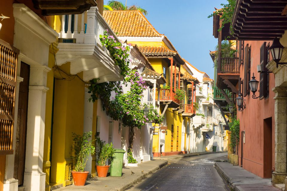 Street With Buildings In Background in Cartagena, colombia