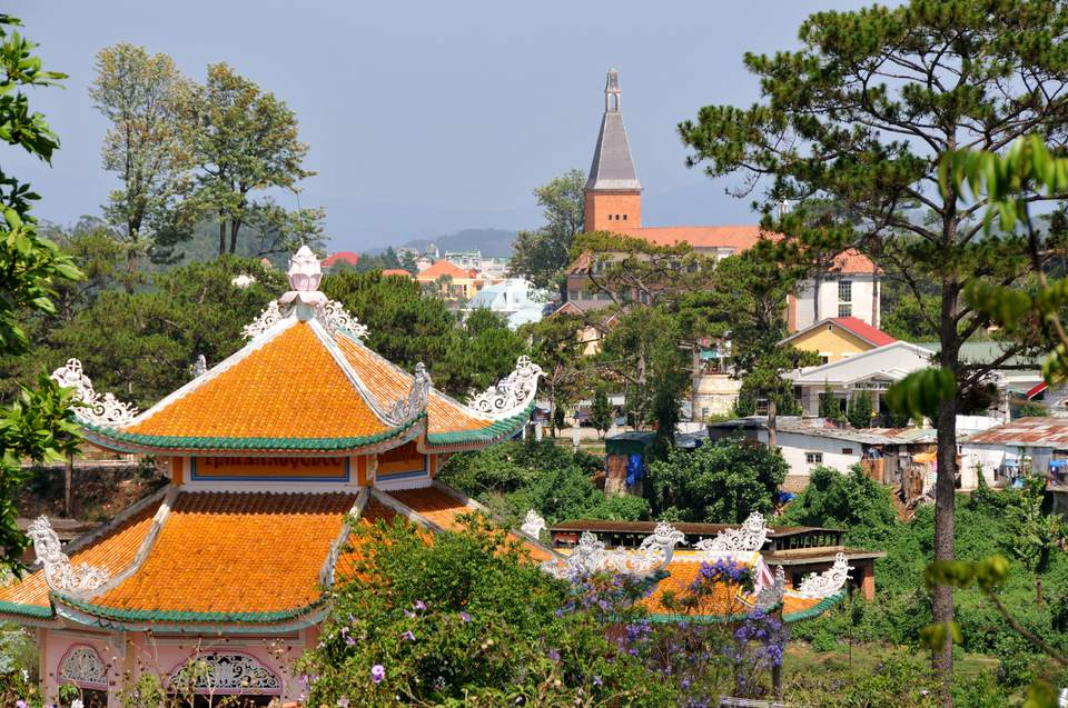 Pagoda and church in Da Lat in the southern mountains, Vietnam