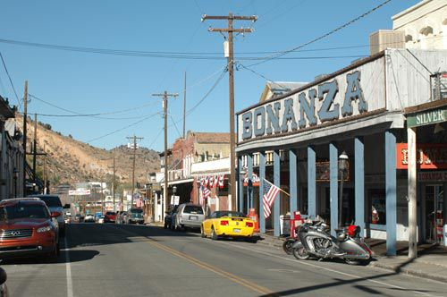 View north on C St., Virginia City's main drag