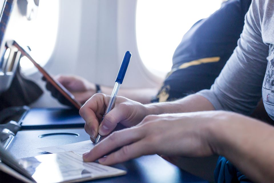 Filling out forms on the plane