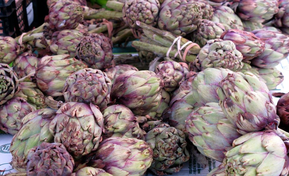 Gorgeous purple artichokes at the Marche d'aligre in Paris.
