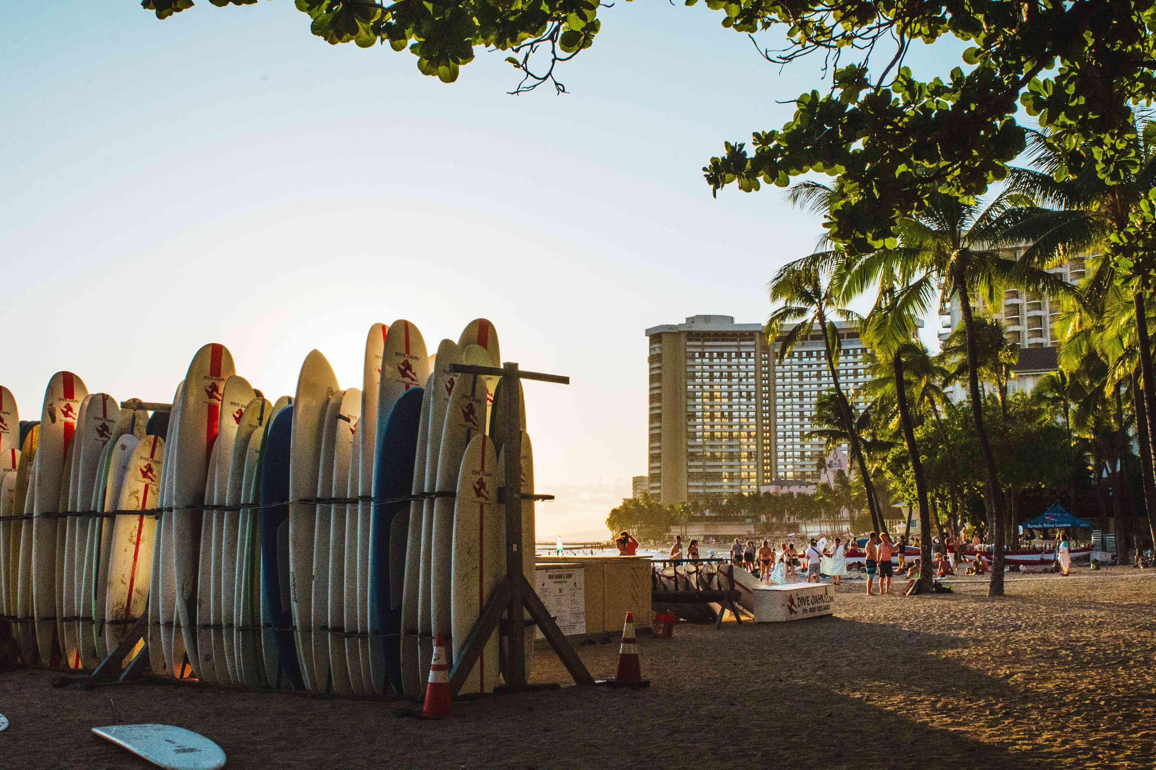 Surfboards on Waikiki Beach at sunset