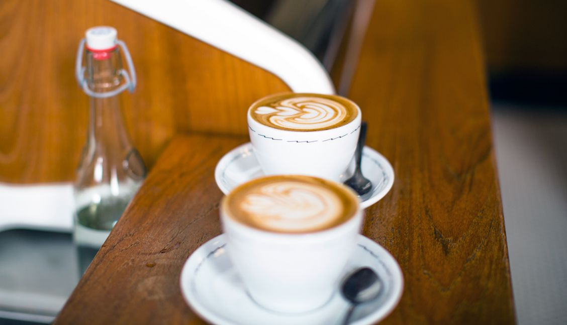 Two cups of coffee at Sightglass cafe
