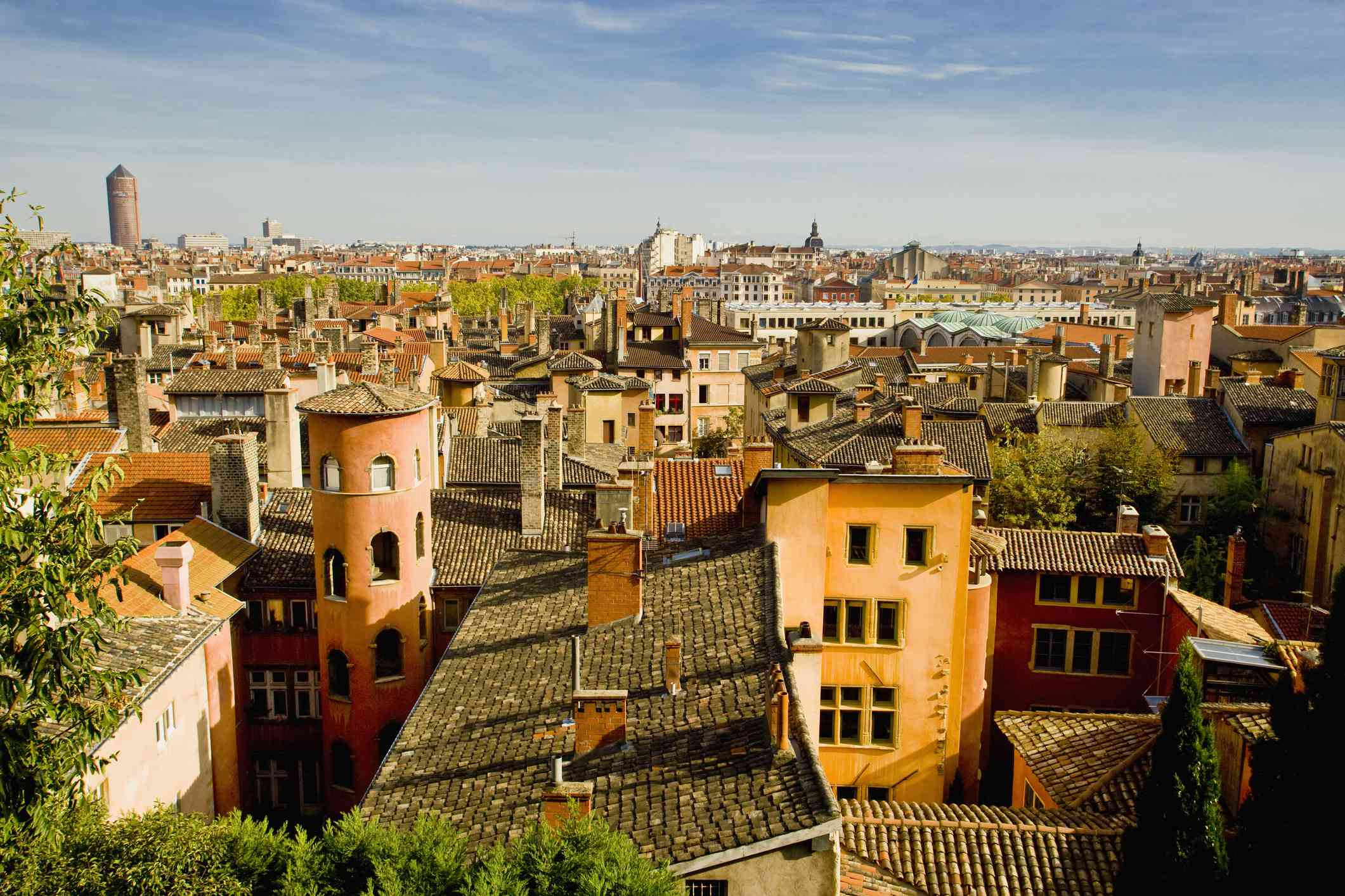 View of roofs in Old Lyon, France