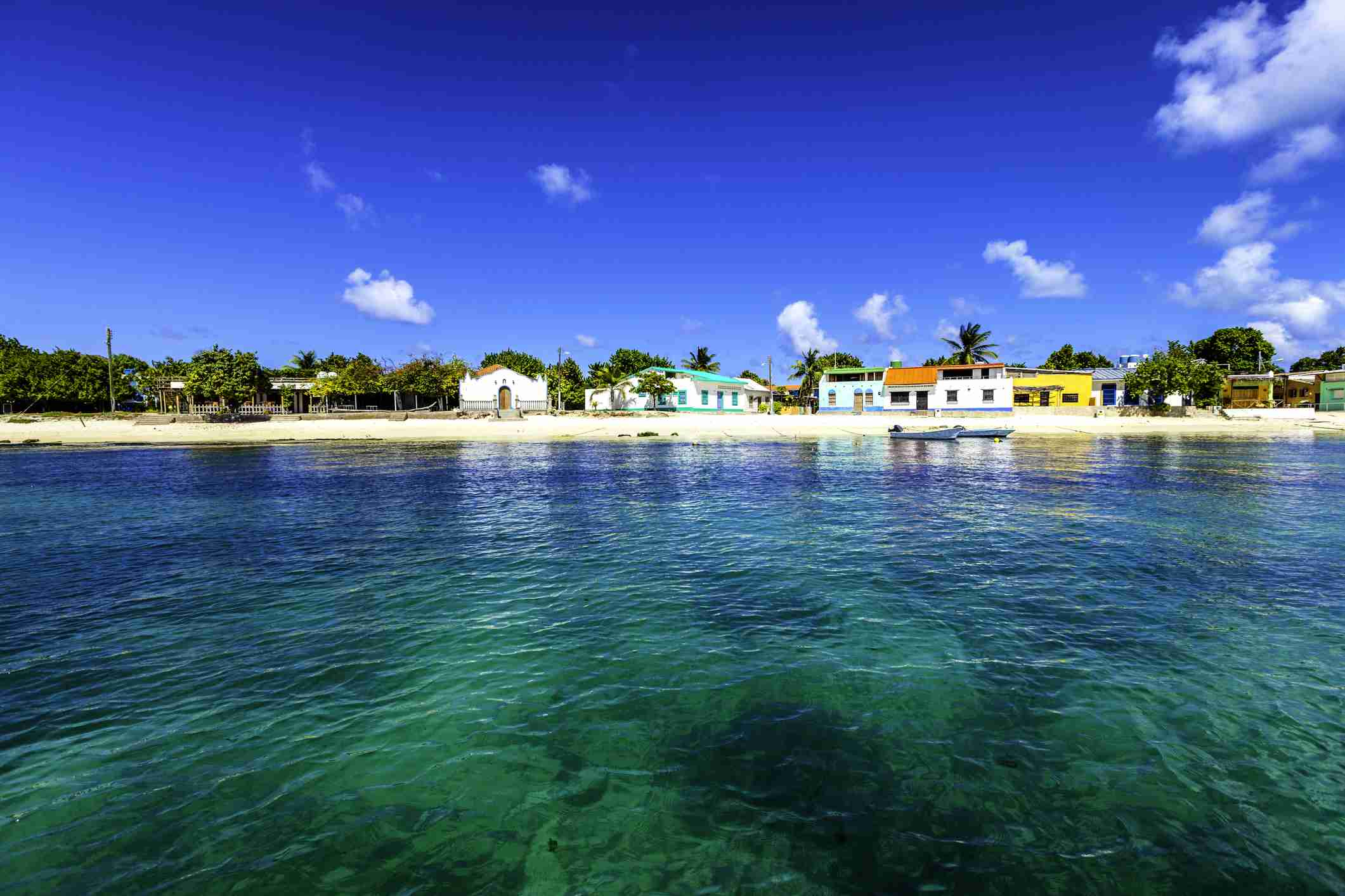 Los Roques town seen from the sea, Venezuela