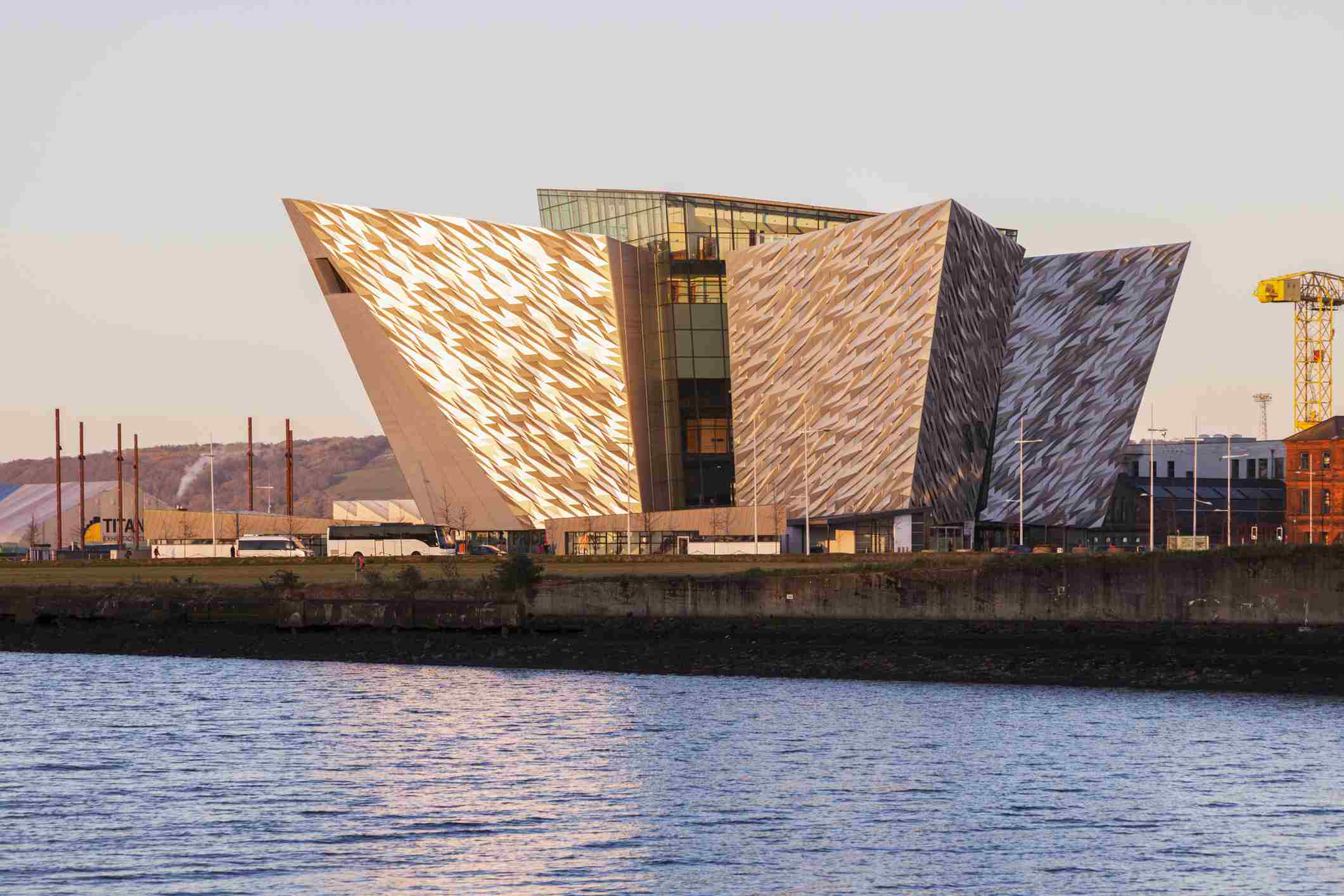 Exterior of the titanic museum at dusk