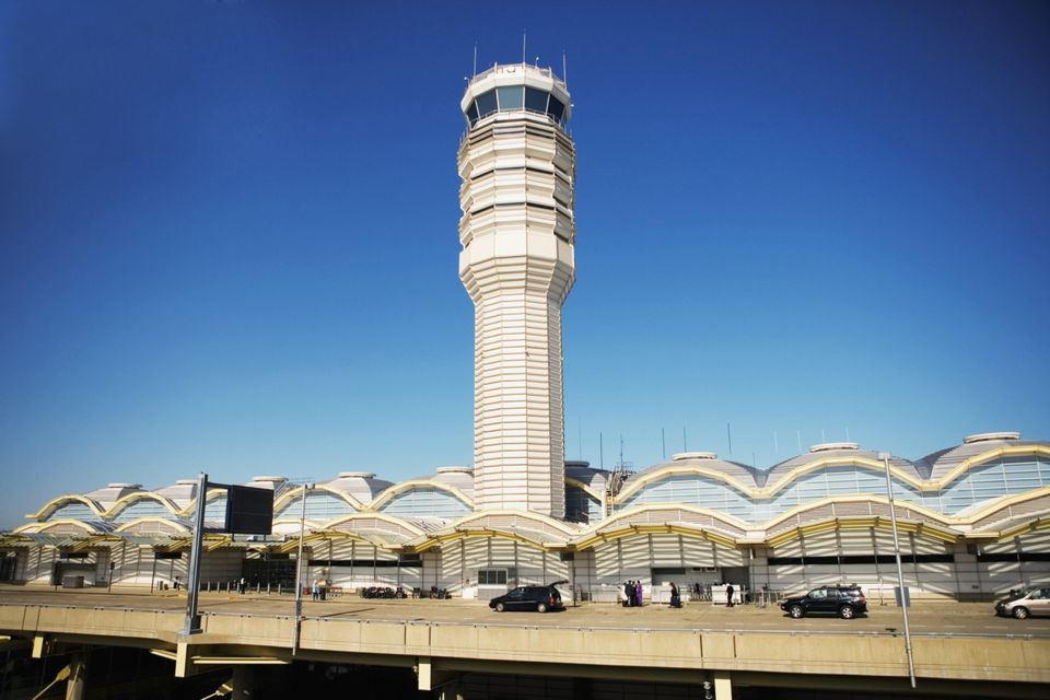 High angle view of the control tower and departures terminal at the Ronald Reagan Washington National Airport, Washington DC, USA