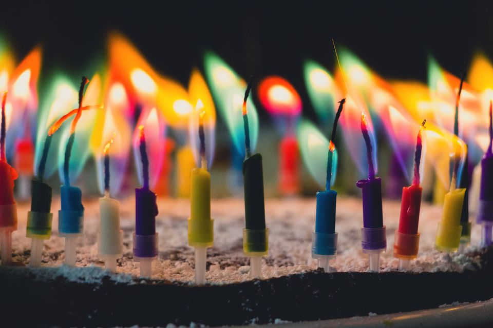 Close Up Of Colorful Candles Burning On Birthday Cake