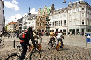 City bikers in Amagertorv Copenhagen
