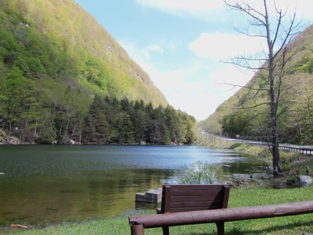 A bench near a lake in Devil's Tombstone Campground