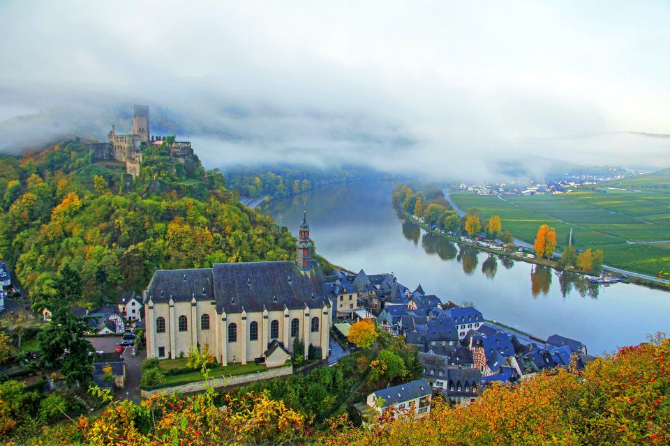 Town of Beilstein with Ruins of Metternich Castle on Moselle River, Rhineland-Palatinate, Germany