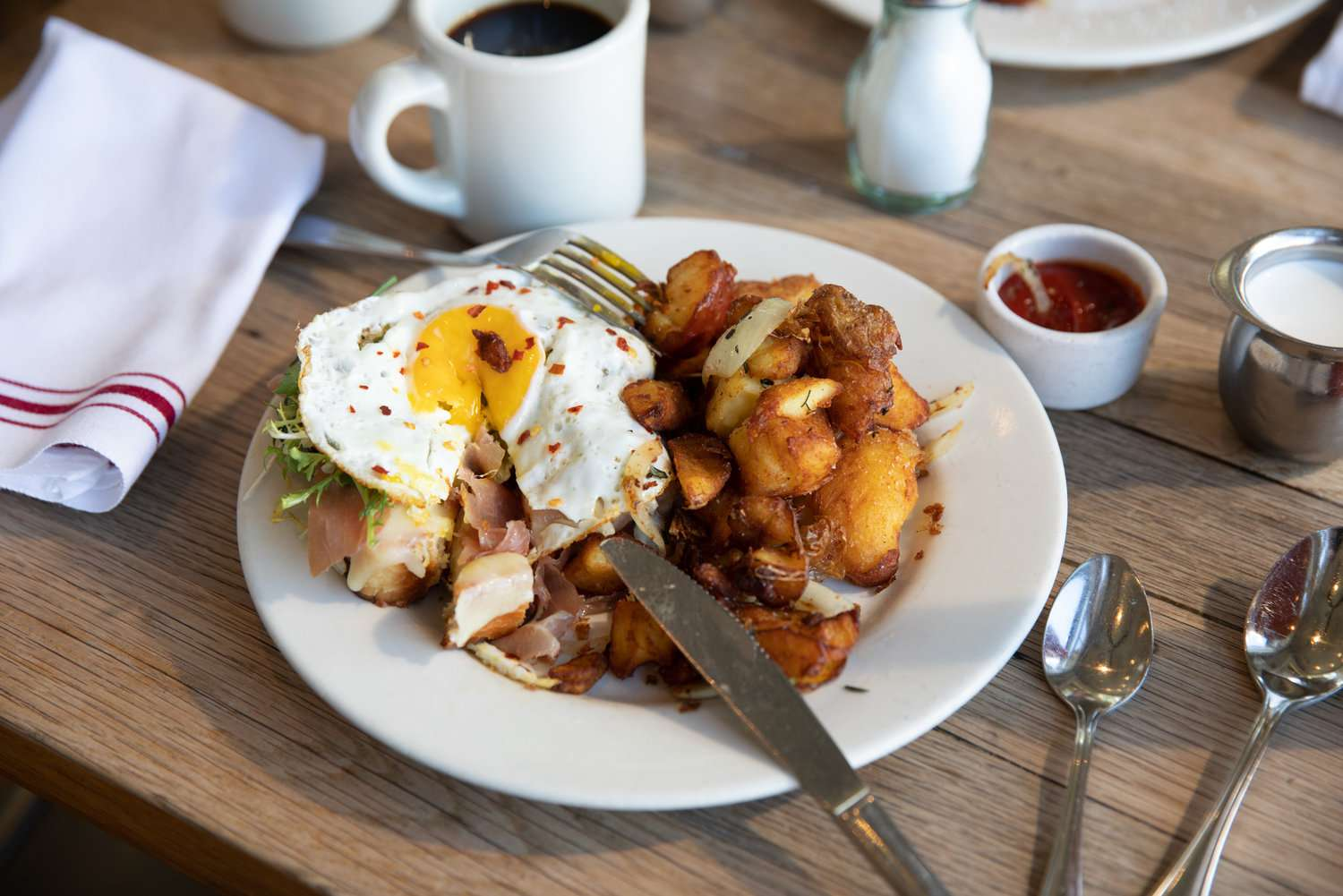 Home fries and a fried egg from Plow in san francisco