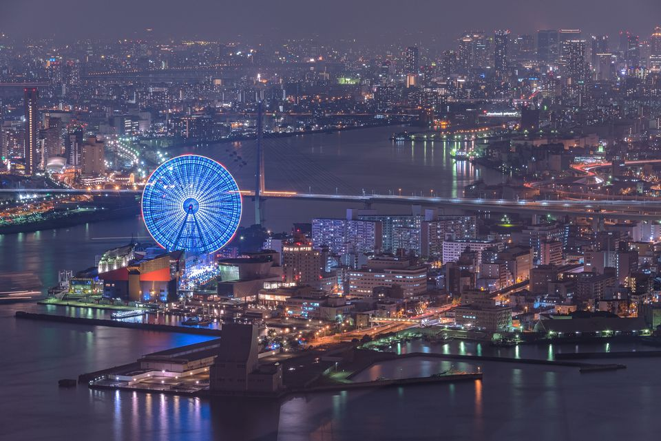 Osaka port in the night time with a beautiful Big wheel