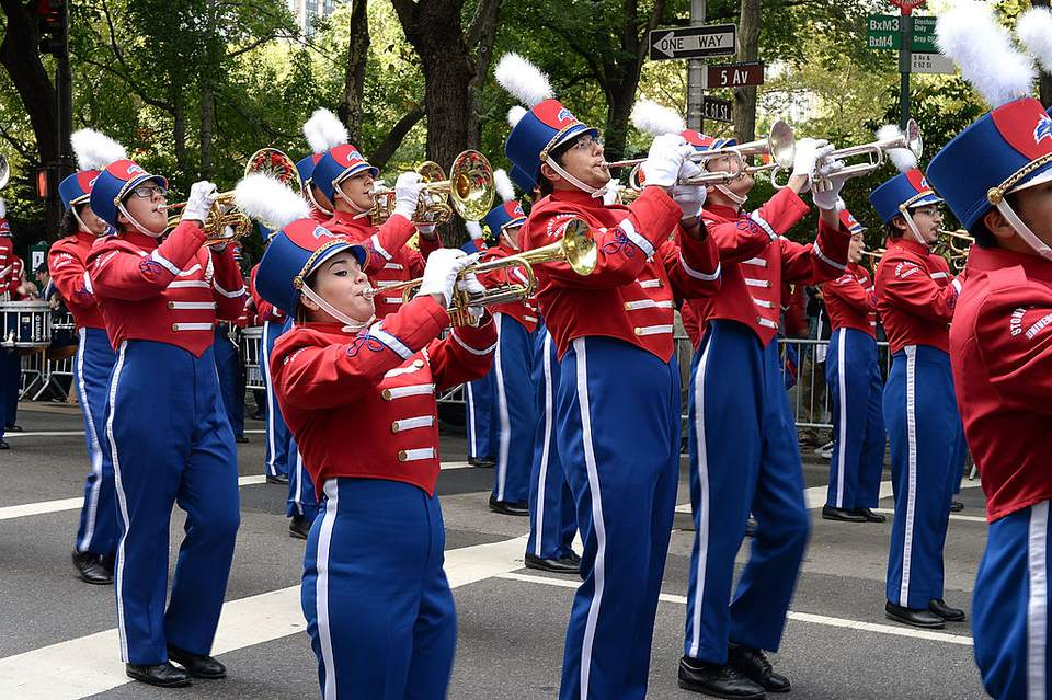A marching band in NYC's Columbus Day Parade