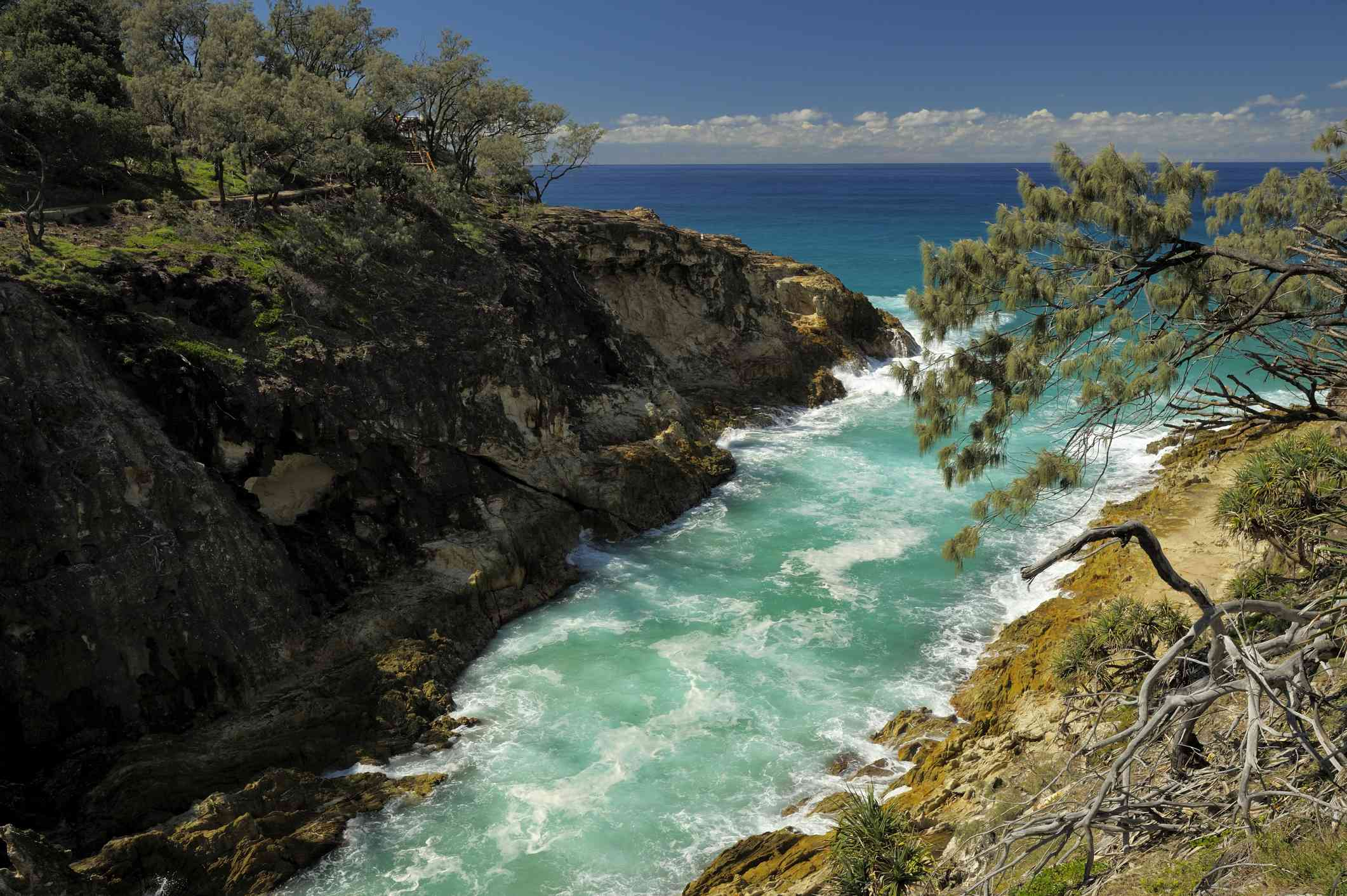 Pale blue-green water flowing through the rocky North Gorge