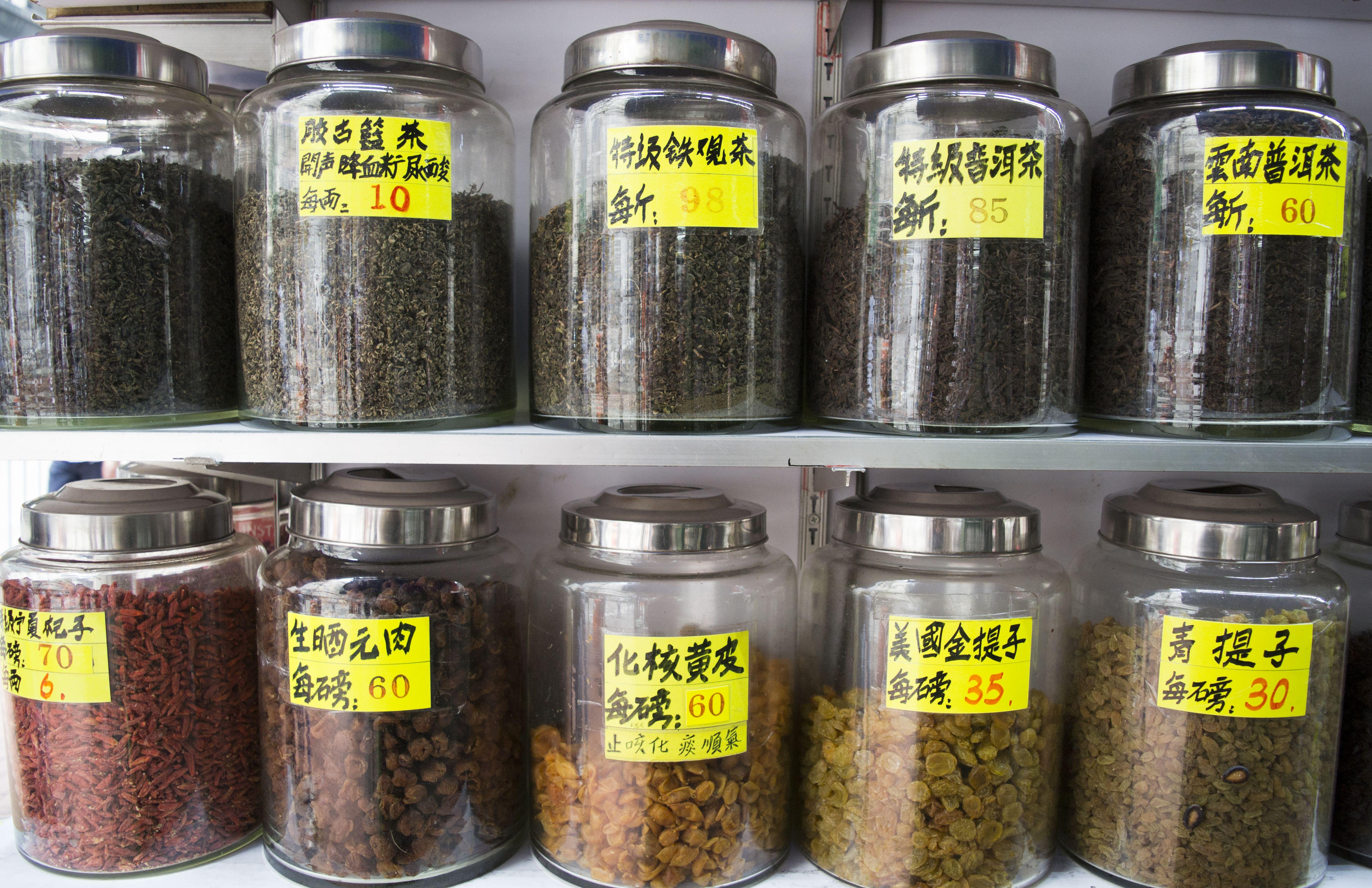 Medicinal teas and herbs on sale in jars