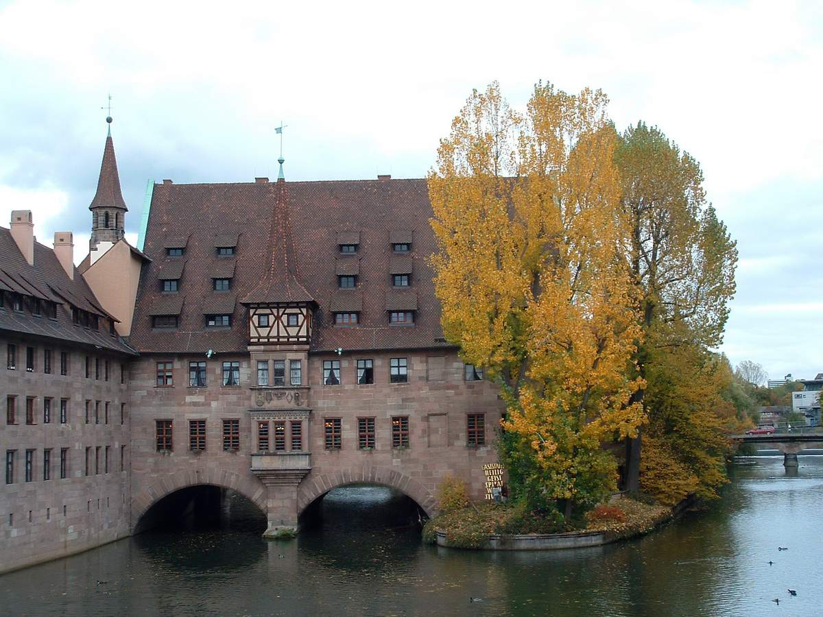 Holy Spirit Hospital on the river in Nuremberg in the fall