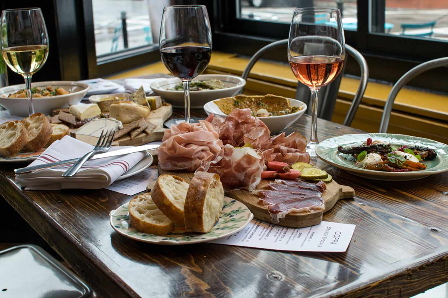 Food on the table at Coppa Enoteca in Boston
