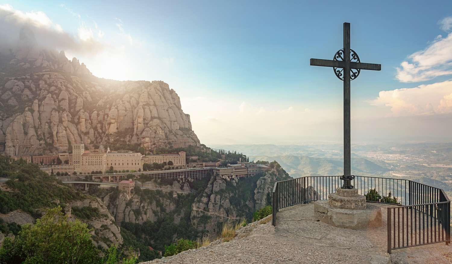 View of the Montserrat Monastery in the mountains near Barcelona.