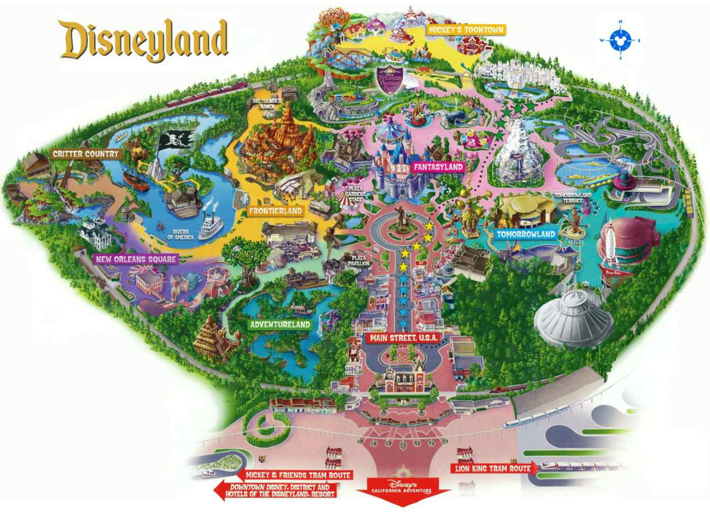 Maps of Disneyland Resort in Anaheim, California Disneyland Hotels Map on