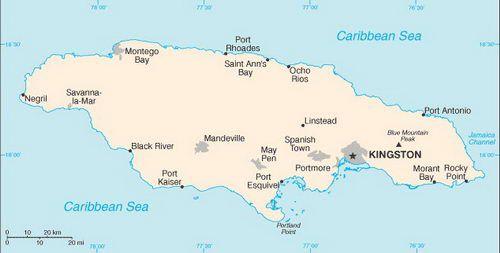 Caribbean Cruise Map of Jamaica