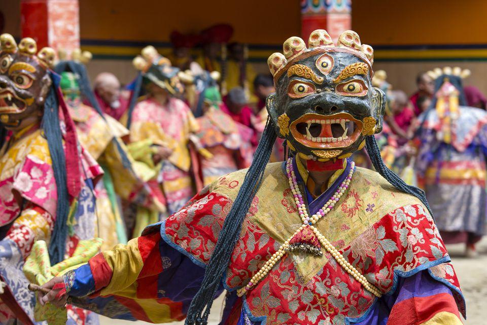 Tsam mystery dance in time of Yuru Kabgyat Buddhist festival at Lamayuru Gompa, Ladakh