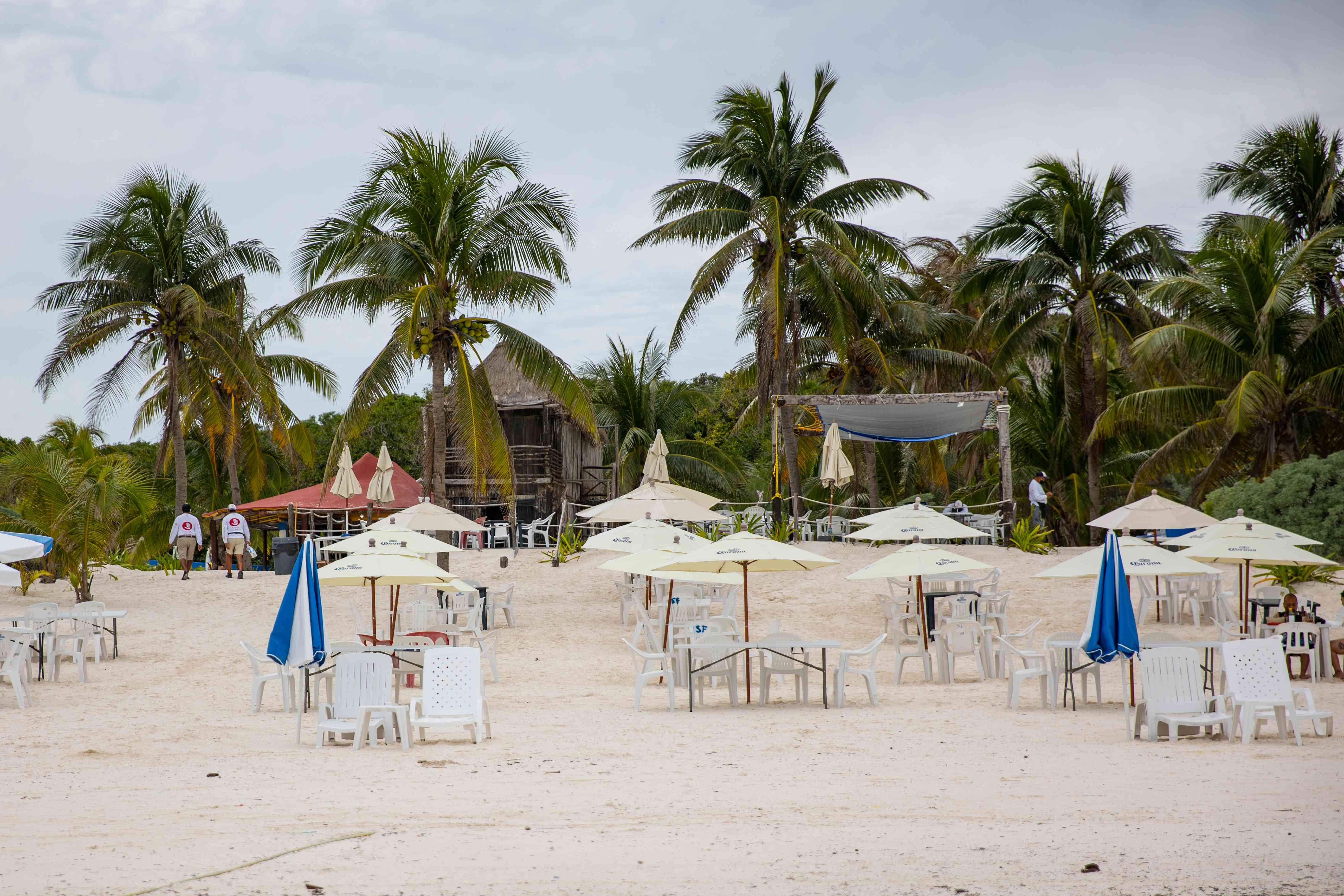 Chairs on the beach at Playa Santa Fe