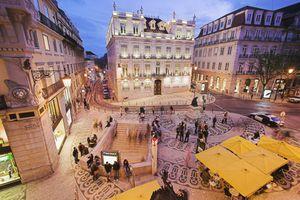 Europe, Portugal, Lisbon, Rua Garrett at night, elevated view