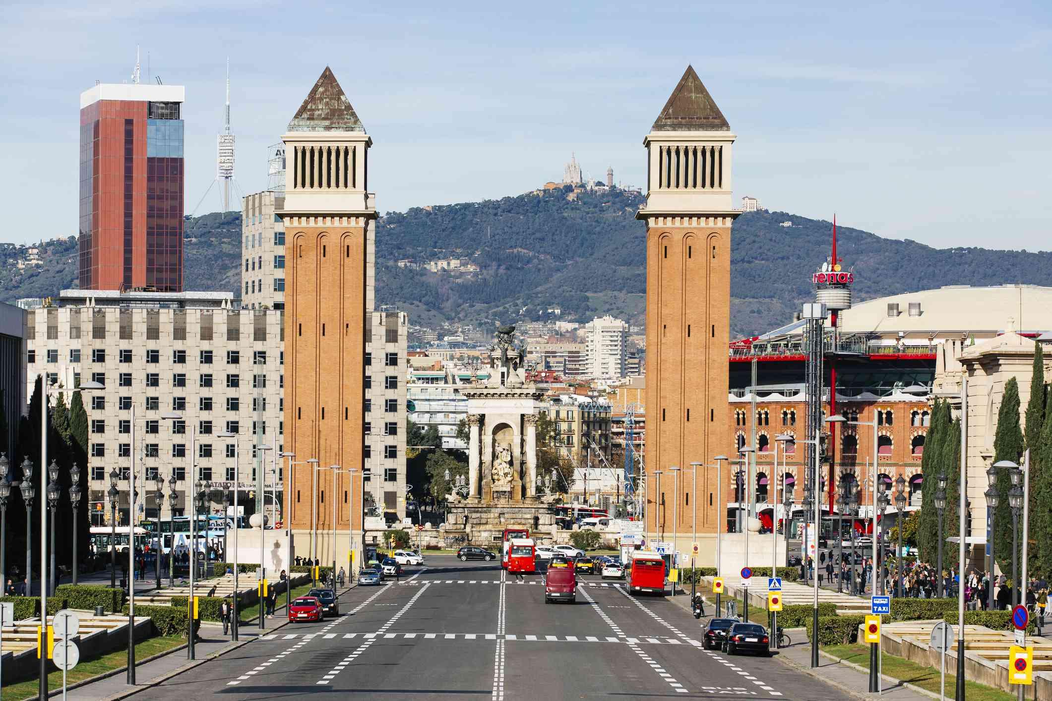 Venetian Towers and Plaza de Espana, Barcelona, Catalonia, Spain