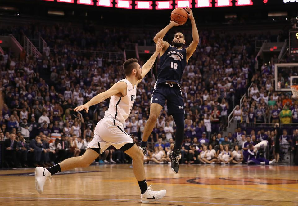 Nevada Wolf Pack member attempts a shot at the Grand Canyon University Lopes