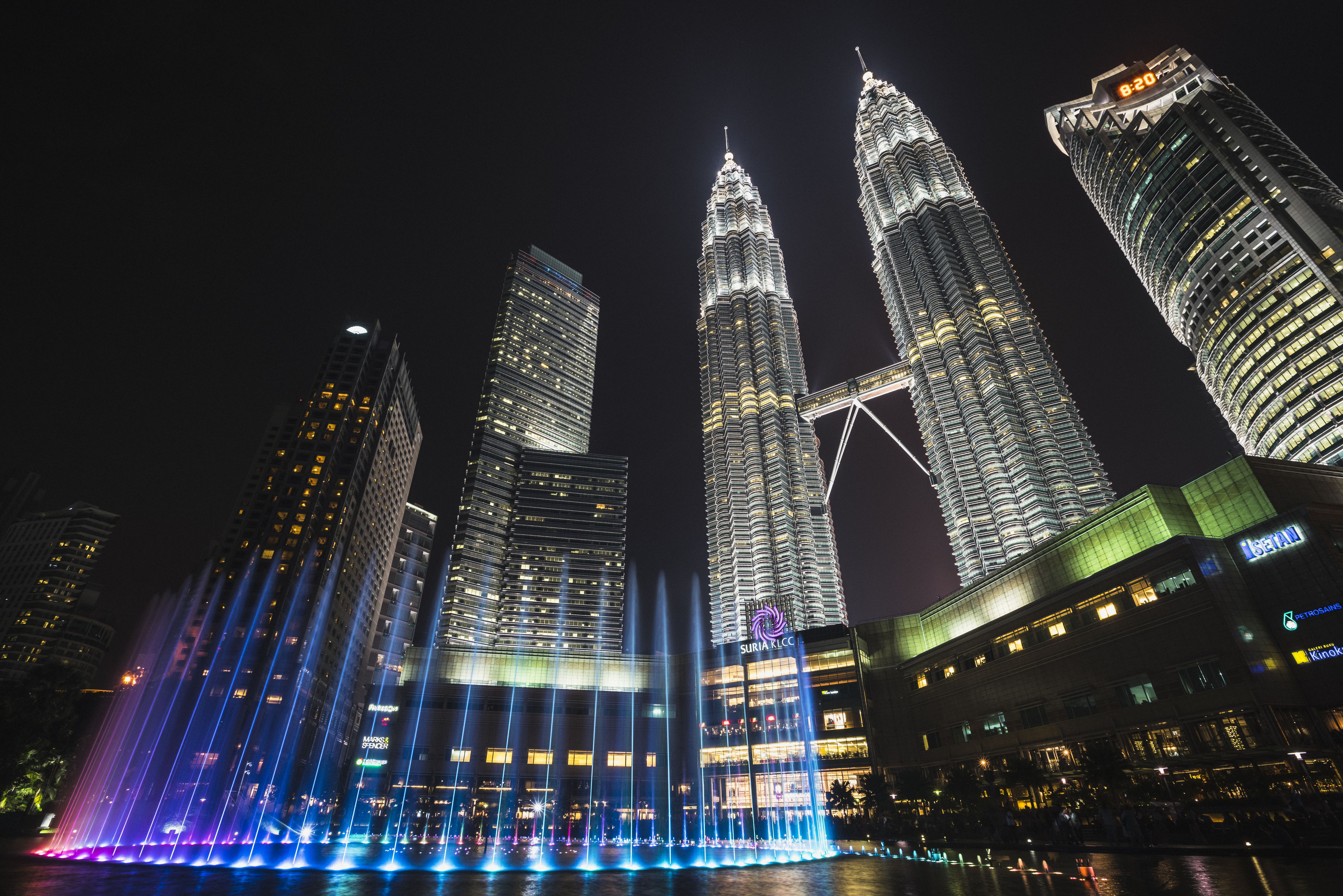 KLCC fountains in front of the Petronas Towers