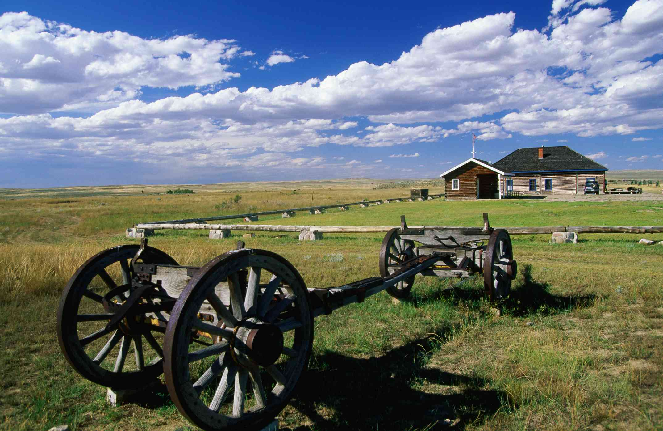 Fort Fetterman State Historic Site with a field and blue skies