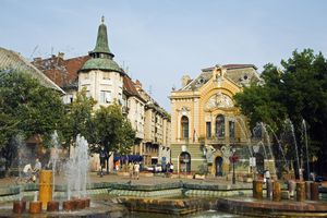 Serbia, Subotica. The Green Fountain surrounded by Art Nouveau architecture.