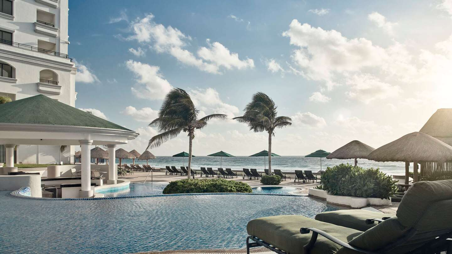 Multiple pools on the adults only pool area at the JW Marriott Cancun Resort & Spa
