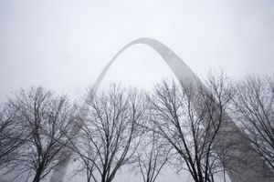 Gateway Arch in Winter Storm