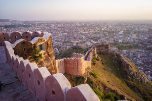 Aerial view of Jaipur from Nahargarh Fort at sunset