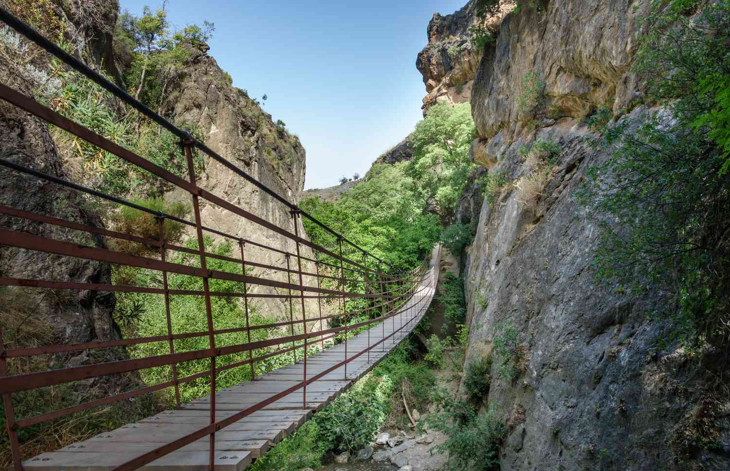 Hanging bridges on the Los Cahorros - Monachil hiking route in Spain