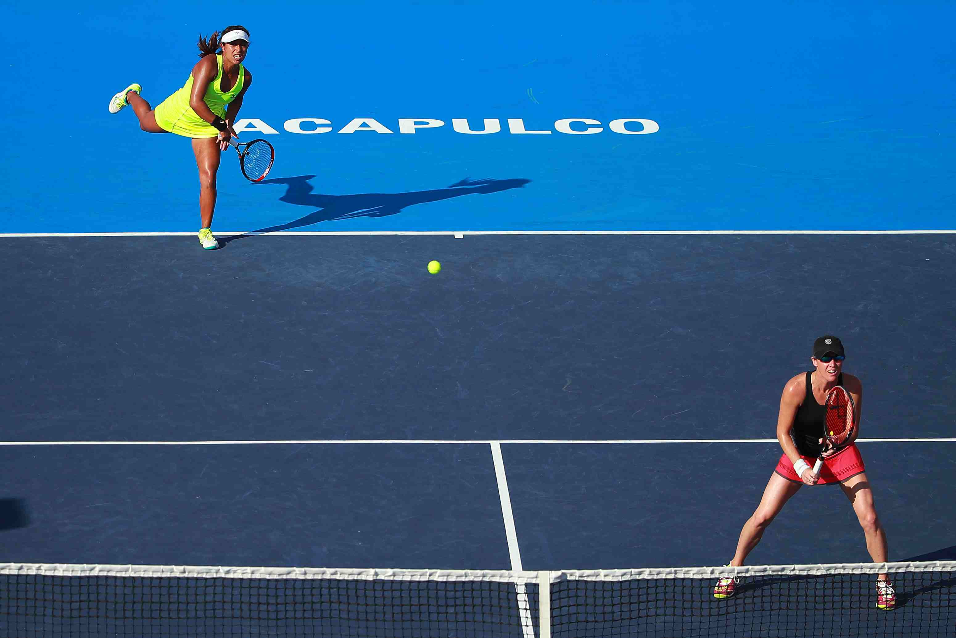 Kaitlyn Christian and Sabrina Santamaria of Great Britain in the Mexican Tennis Open in Acapulco