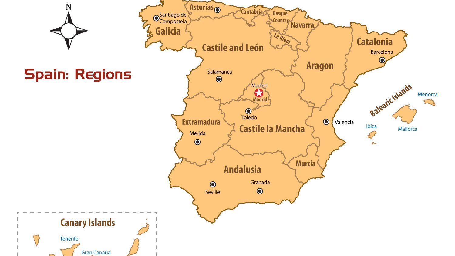Map Of Spain Basque Region.Regions Of Spain Map And Guide
