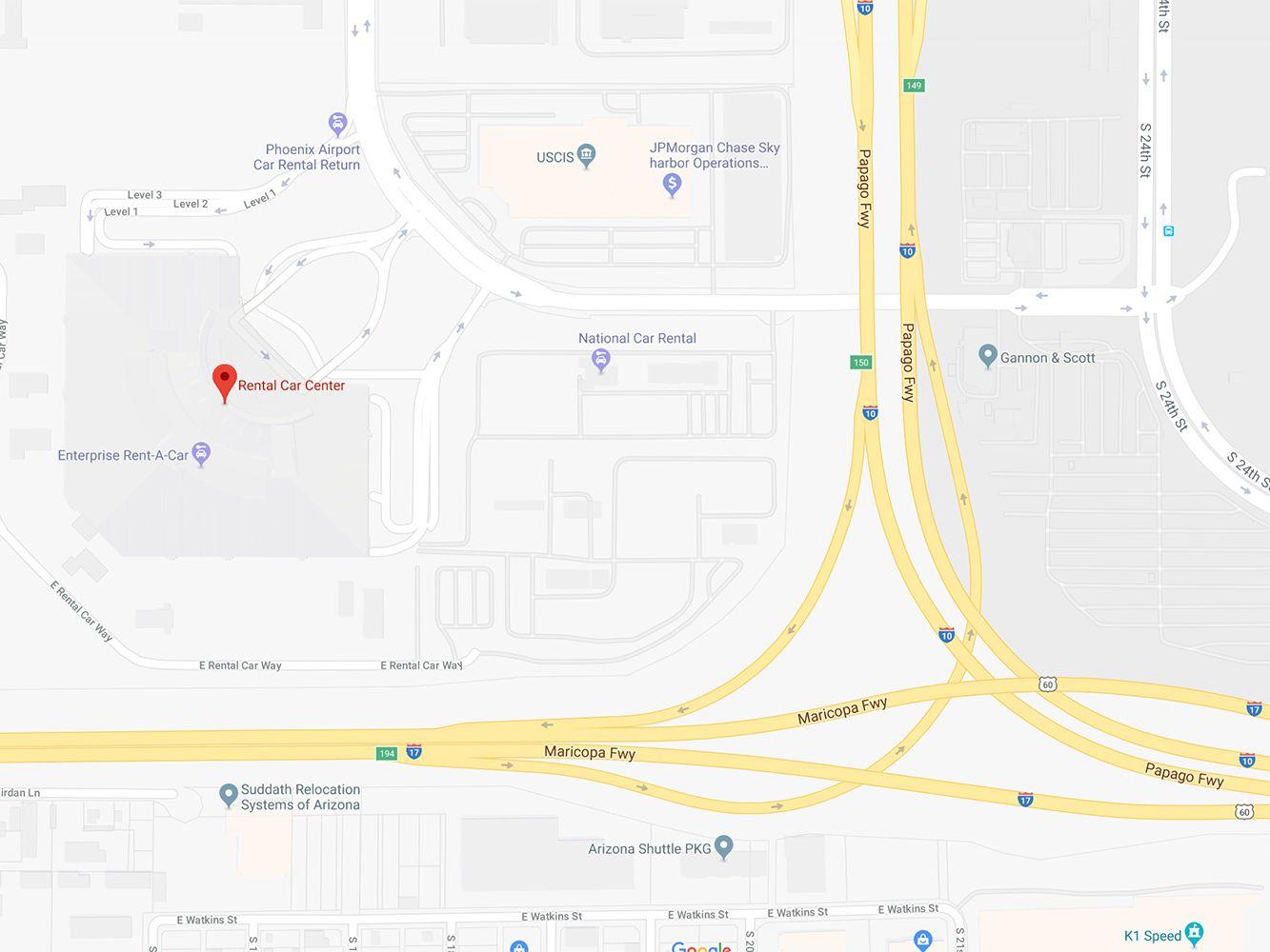 Google Map Of Arizona.Phoenix Airport Rental Car Center Map And Directions