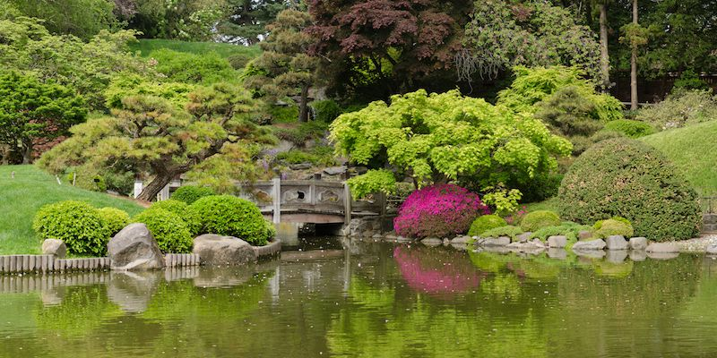 Four-segment panorama of Japanese Hill-and-Pond Garden, Brooklyn Botanic Garden, Brooklyn, New York City.