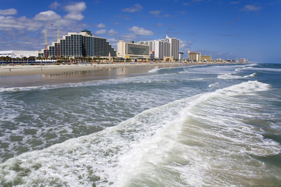 Beachfront hotels along Daytona Beach.