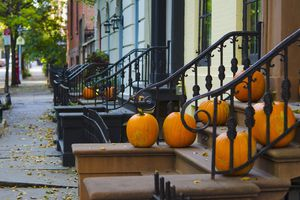 USA, New York State, New York City, Brooklyn, Brooklyn Heights, Halloween Pumpkins