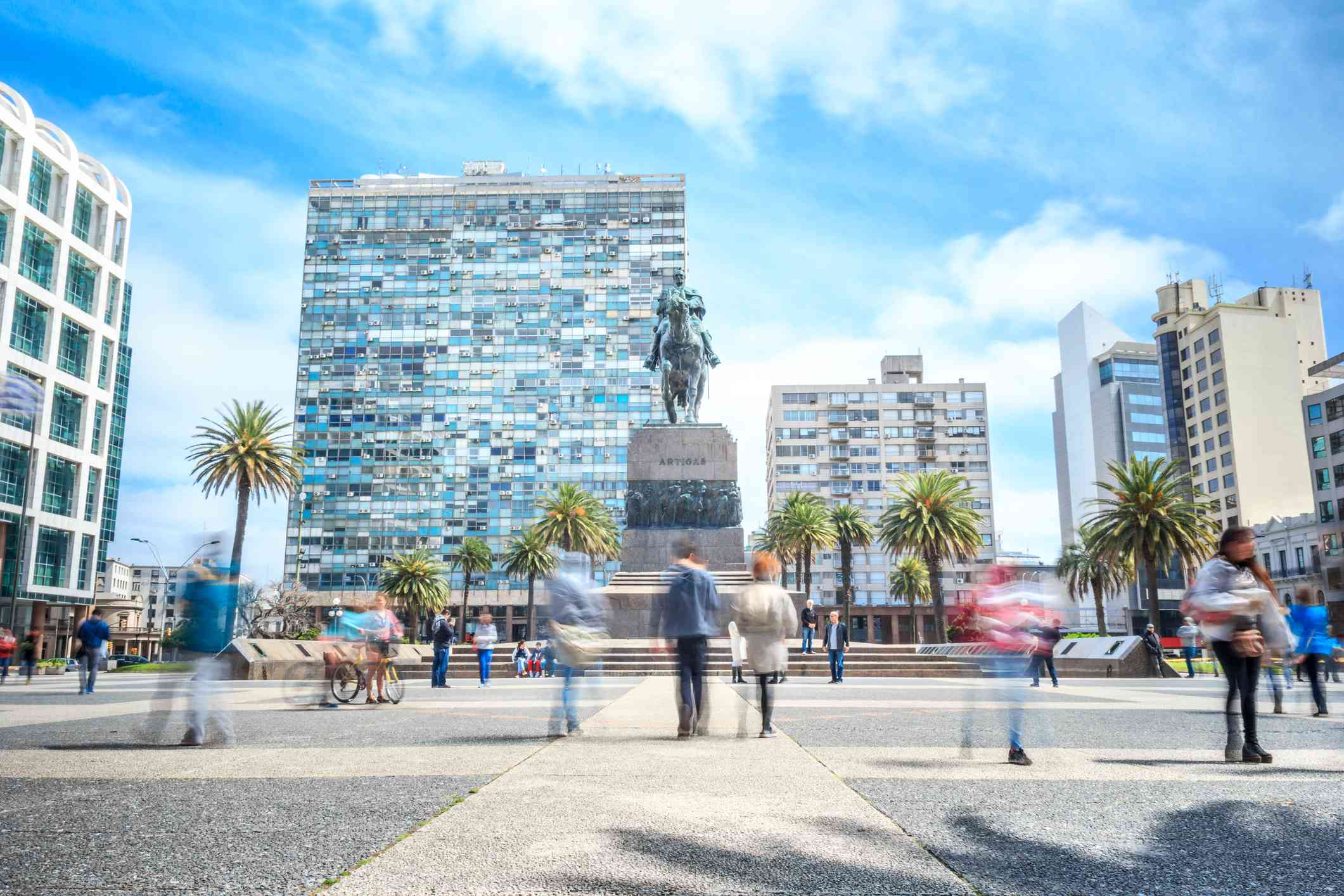 View of Plaza Independencia, Montevideo downtown, Uruguay