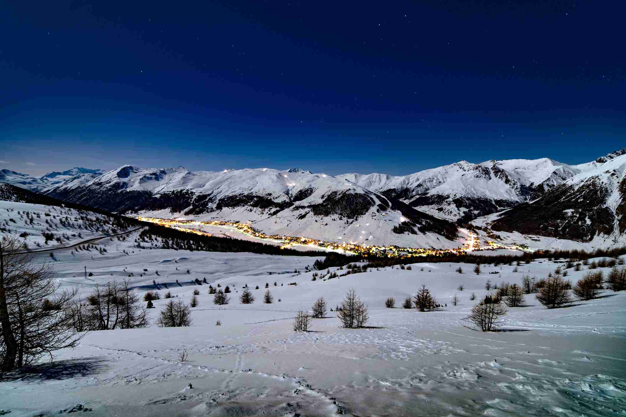 Livigno in the distance at night