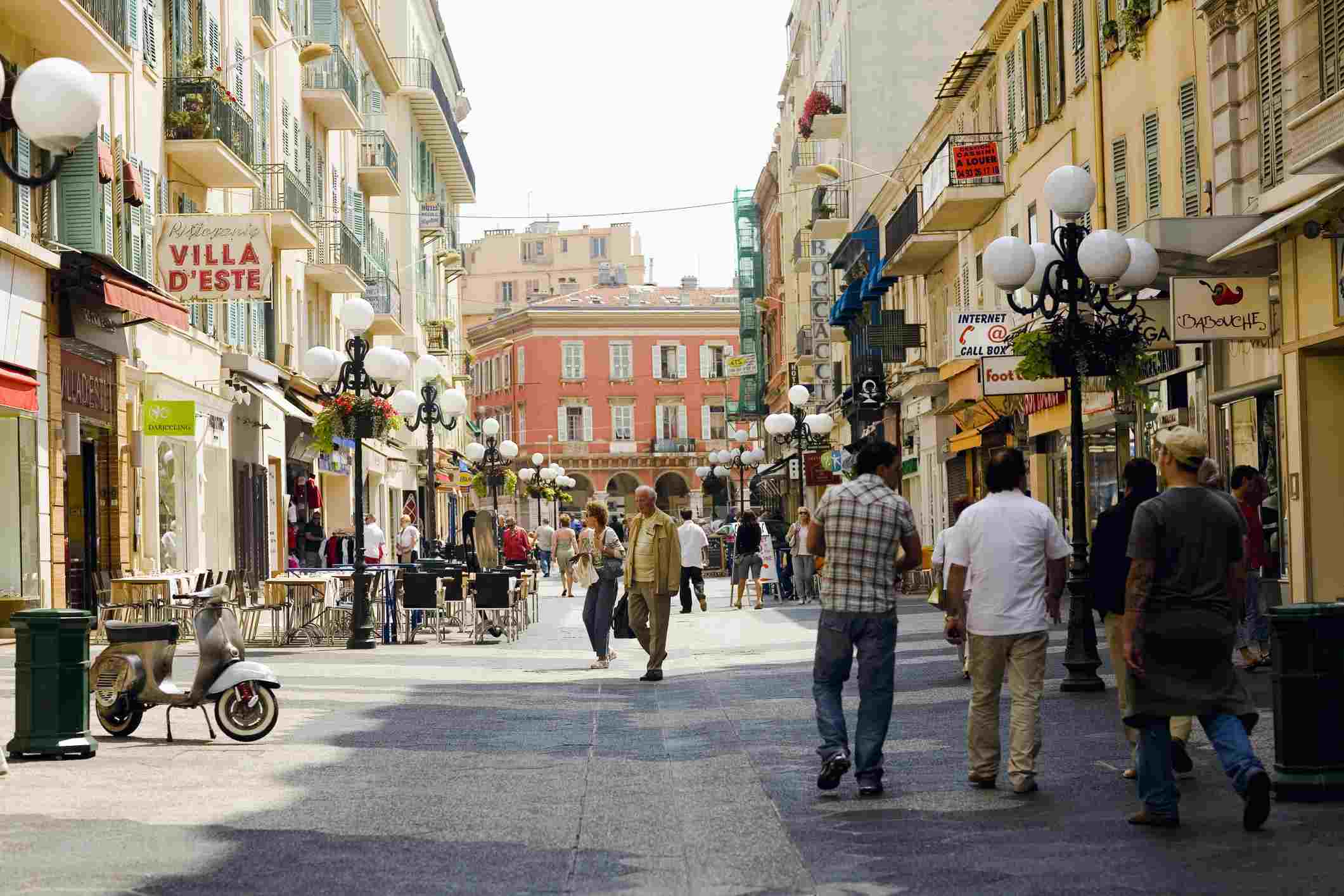 Group of people walking in a market, Nice, France